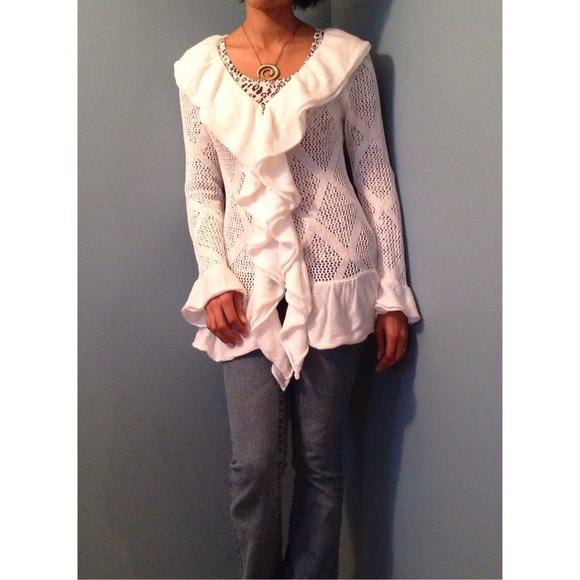 50% off Slonl Sweaters - 🚫SOLD🚫 Slonl White Ruffles Cardigan ...