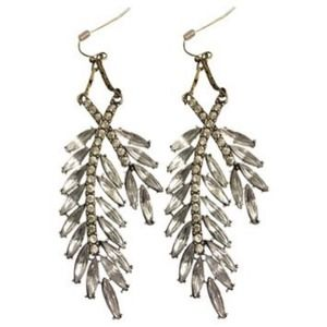J. Crew Crystal wheat earrings and dust bag
