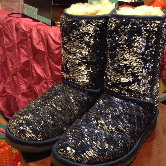 Boots - Uggs Silver/Blue Color Changing Sparkly Sequin