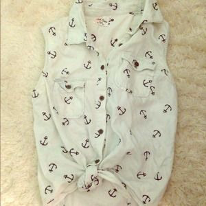 Pacsun buttoned tank top w/ anchors