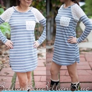 The CHRISSIE embroidered striped dress - GREY