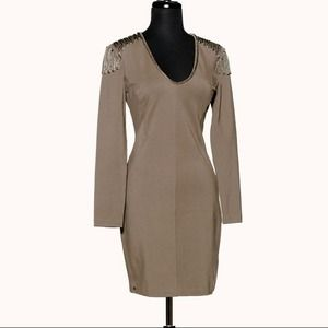 SuperTrash Dresses & Skirts - Denver Rope Detail Long Sleeve Dress - Khaki