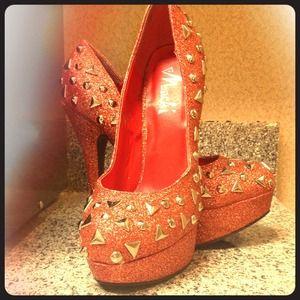 Shoes - Orange Gold Glittered Heels w/ Spikes & Grommets
