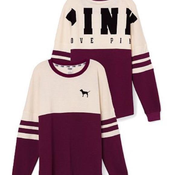 28% off PINK Victoria's Secret Sweaters - Pink Varsity Crew Neck ...
