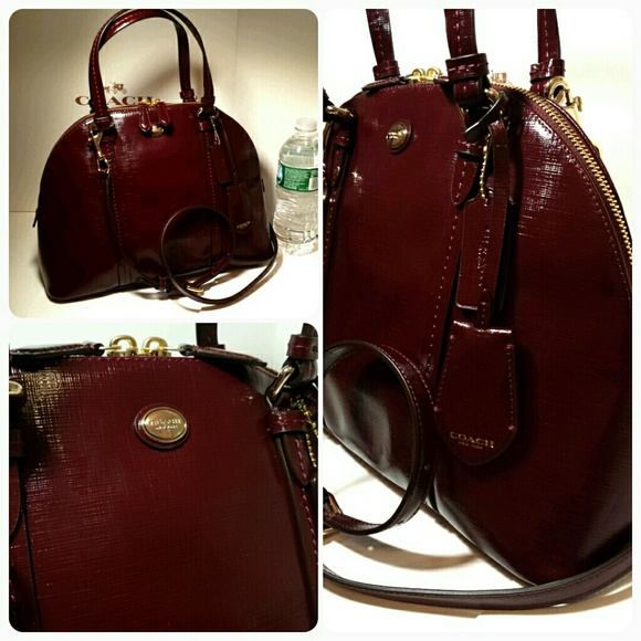 0bf380645e15 New Coach domed patent textured leather satchel
