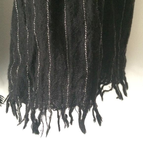 J. Crew Accessories - J. Crew wool scarf black with white pinstripe