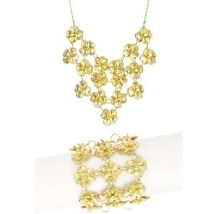 Gold Flower Delicate Layered Necklace & Bracelet