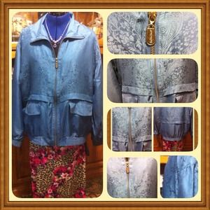 Floral 100%-Silk, Zip Jacket, Stylish