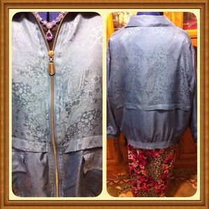 FUDA International Jackets & Coats - Floral 100%-Silk, Zip Jacket, Stylish
