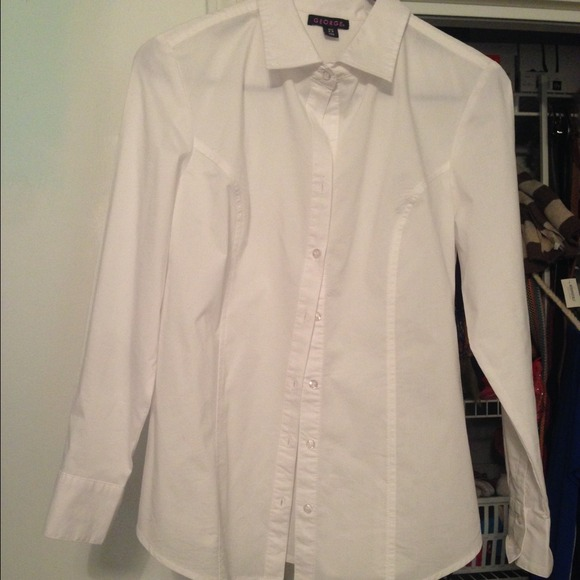 33 off george tops white button down shirt from for Do gucci shirts run small