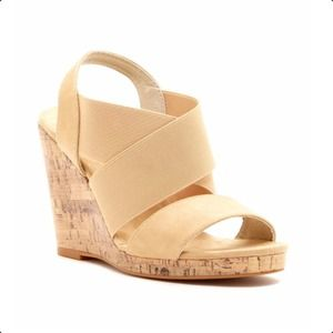 Mojo Moxy Shoes - Dolce Nude Wedge Sandals