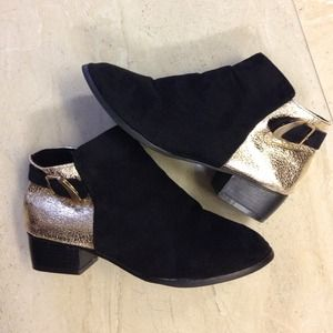 Black and gold ankle booties
