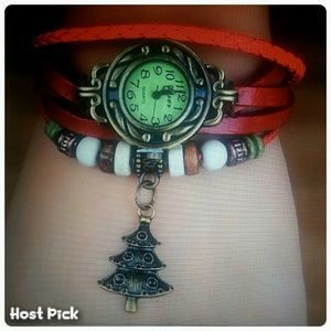 Retail Accessories - Christmas Tree Charm Watch * Red