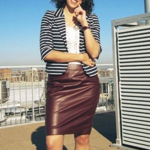 The Limited Dresses & Skirts - Burgundy Faux Leather Pencil Skirt