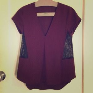 Zara Tops - Zara Maroon Top with Lace Cut Outs