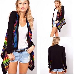 Gorgeous Aztec/Tribal Open Waterfall Cardigan