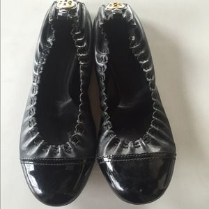 Tory Burch Abbey Black Leather Stretch Flats 8