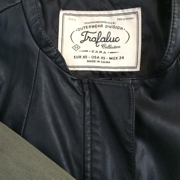 ade9cddd Zara Jackets & Coats   Sale Leather And Green Twill Jacket   Poshmark