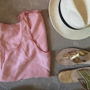 JCrew Pink Silk Racerback Top