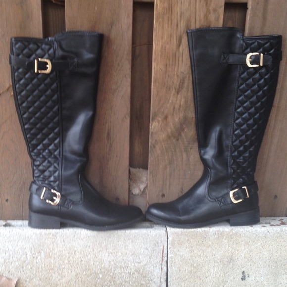 53% off Merona Boots - My favorite quilted back Black riding boots ...
