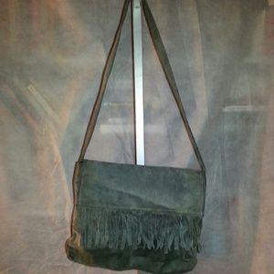 Handbags - Womans Gray Suede Fringe foldover flap purse