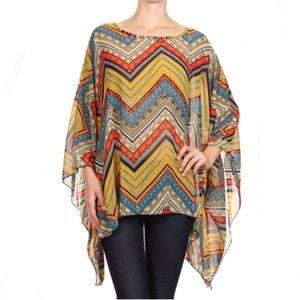 Tops - Tribal chevron kimono blouse