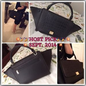celine luggage mini croco black