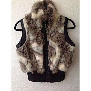 Faux Fur and Leather Vest