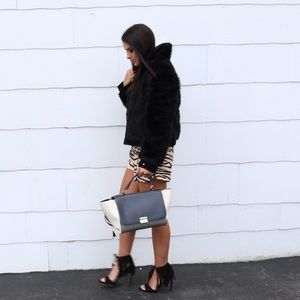Express suede & faux fur jacket m
