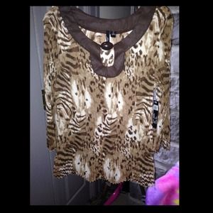 Tops - NWT Browns and White Leopard Top