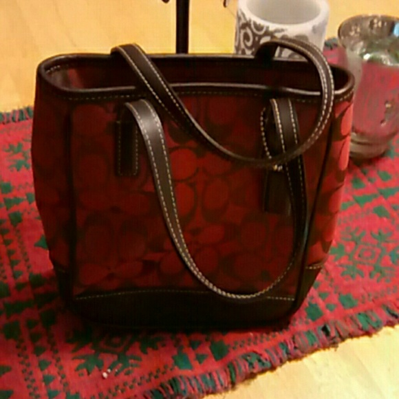 coach handbag outlet online h2vr  red and brown coach purse