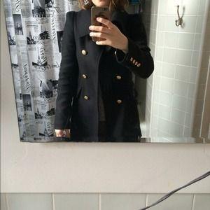 fa4fd929 Zara Jackets & Coats   Black Military Coat With Gold Buttons   Poshmark