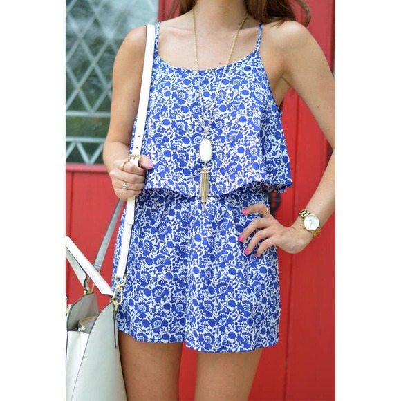 761122ae448 Forever 21 Other - Blue and white floral romper from Forever 21