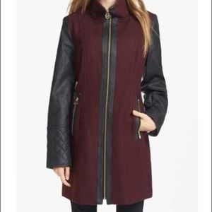 MICHAEL Michael Kors Faux Leather Sleeve Wool Coat