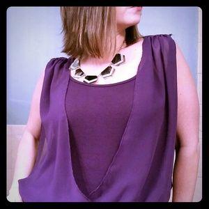 Offers accepted until 9pm! Purple Faux Wrap Top
