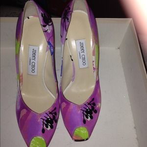 Open toe colorful jimmy choo pumps