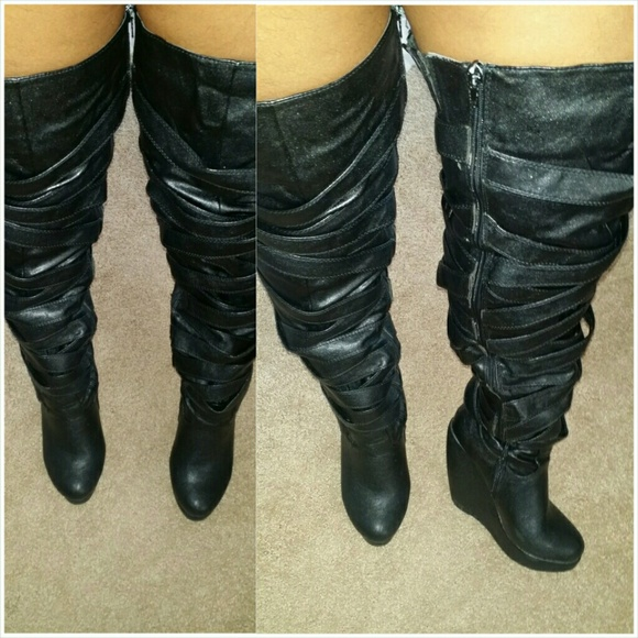 Yoki - Black leather thigh high wedge wrapped Yoki boots from