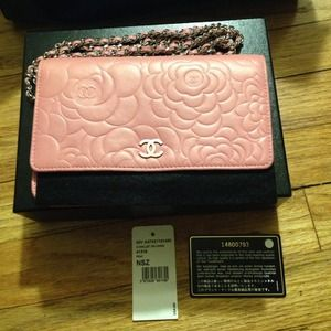 Chanel Pink Camellia Wallet on Chain WOC