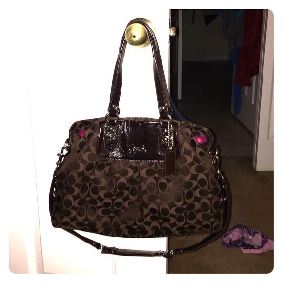 0216e92581aa Coach Handbags - Dark brown coach bag with hot pink interior