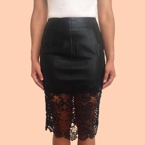 32ae6f2367 Hommage Skirts | Final Sale Faux Leather Lace Pencil Skirt | Poshmark
