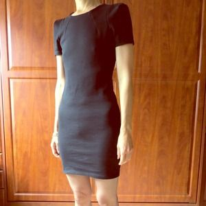 Zara black angled shoulder dress