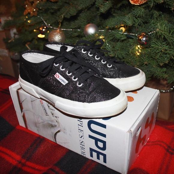 Superga Shoes | Black Sparkle Sneakers