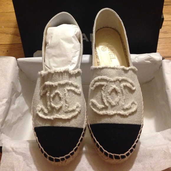 chanel chanel beige black canvas espadrilles 36 from