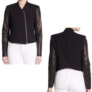Helmut Lang Lamb Leather Sleeve Jacket