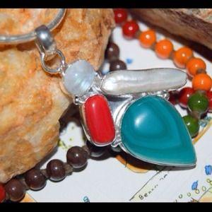 handmade &handcrafted gemstone jewelry Jewelry - Botswana Agate,Biwa & Rainbow Moonstone Pendant