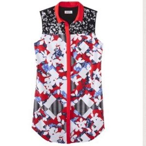 Peter Pilotto for Target Red Floral Shirt Dress