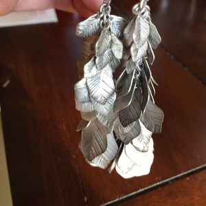 Leaf or feather design on antiqued earrings
