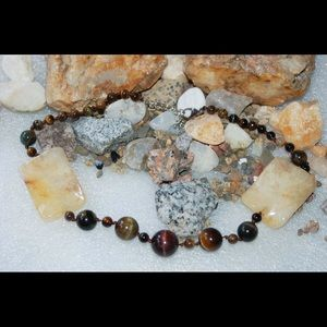 Huge Yellow Jade & Tiger Eye Gems Necklace