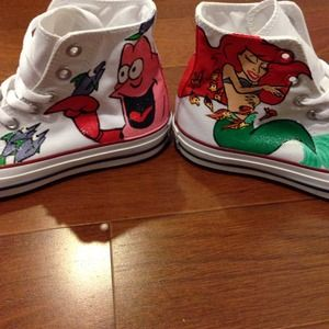 b44ded94c416 Converse Shoes - Ariel Little Mermaid Hand-Painted White Converse