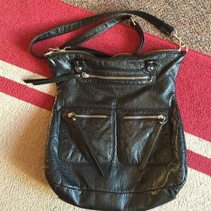 Black leather cross body satchel